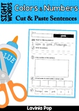 Sight Words Cut and Paste Sentences: Colors and Numbers