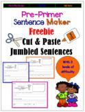 Sight Words Cut and Paste Jumbled Sentences:Freebie Pre-Primer Sentence Building