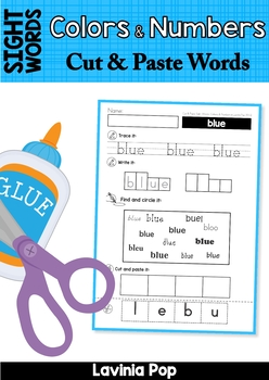 Sight Words Cut and Paste Worksheets (Colors and Numbers)