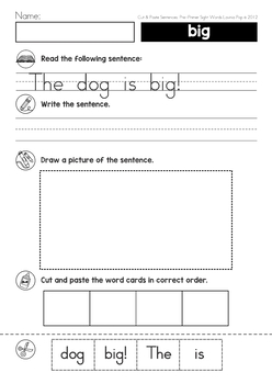 Sight Words Cut and Paste Sentences (Pre-Primer)