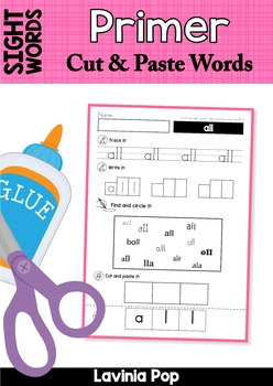Sight Words Cut and Paste Words (Primer Words)