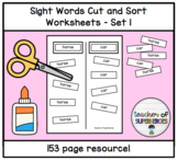 Sight Words Cut and Sort (ALL 150 Words from Edmark Level 1 Word List)
