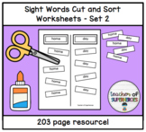 Sight Words Cut and Sort (ALL 200 Words from the Edmark Level 2 Word List)