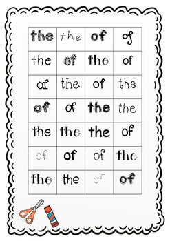 Sight Words Cut and Stick - Fry's First 100