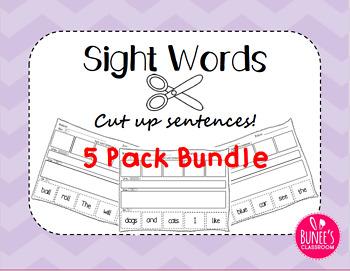 Sight Words: Cut up Sentences 5 Pack Bundle