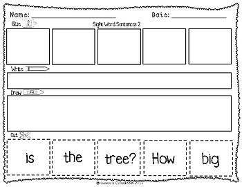 Sight Words: Cut up Sentences Pack 3