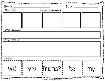 Sight Words: Cut up Sentences Pack 4