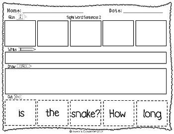 Sight Words: Cut up Sentences Pack 5