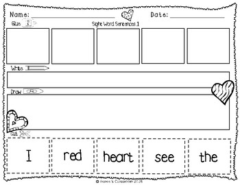 Sight Words: Cut up sentences Valentine's Day Theme