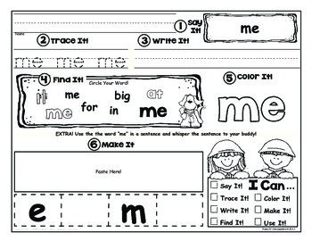 Sight Word Cut'n Paste - 34 Printables +  Pre-K and K - all Genders Common Core