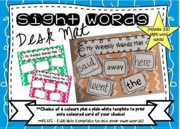 Sight Words Desk Mat