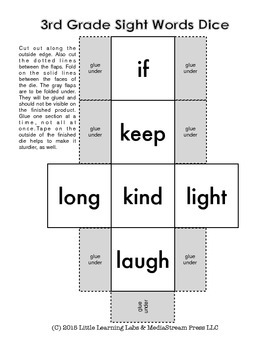 Sight Words Dice - 3rd Grade Dolch Set