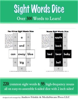 Sight Words Dice - Complete Dolch Set 220 Words + 95 Common Nouns