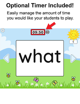 Sight Words Digital Flash Cards for SmartBoards, Tablets & Computers