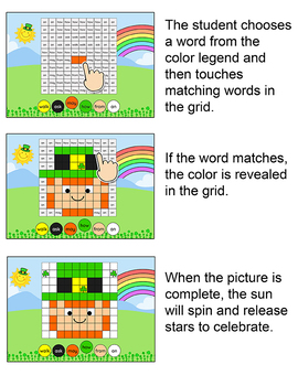 Sight Words Digital Mystery Pictures - St. Patrick's Day Theme