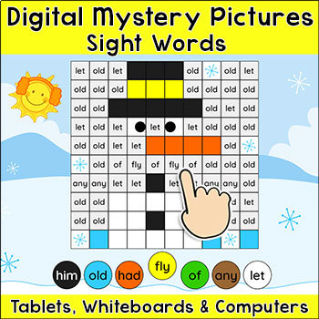 Sight Words Digital Mystery Pictures for Tablets & Smartboards - Winter Theme