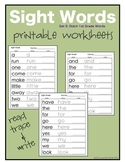 Sight Words: Dolch 1st Grade Worksheets