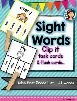 Sight Words Dolch Clip it Cards (First Grade List)