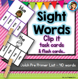 Sight Words Dolch Clip it Cards (Pre-Primer List)