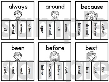 Sight Words Dolch Clip it Cards (Second Grade List)