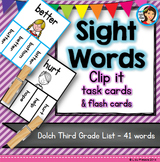 Sight Words Dolch Clip it Cards (Third Grade List)