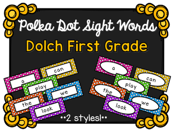 Sight Words - Dolch First Grade - Polka Dot