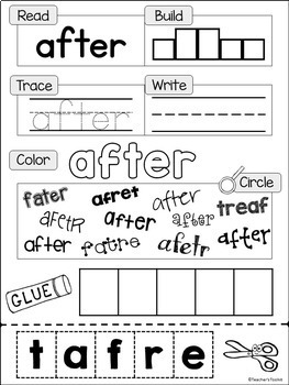 Sight Words Practice Worksheets Dolch First Grade