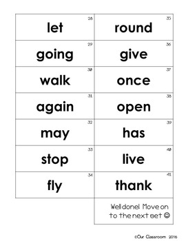 Dolch Sight Words Key Ring (First Word List)