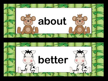 Word Wall: Sight Words Dolch Grade 3 Jungle Theme