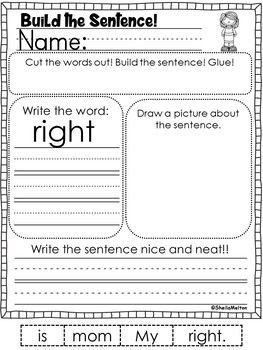 Sight Words Level 5 Build the Sentence