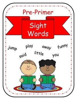 Sight Words no prep printables for the Dolch Pre-Primer List (Rti)