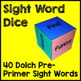 Dolch Pre-Primer Sight Word Dice Games Literacy Center