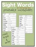 Sight Words: Dolch Pre Primer Worksheets