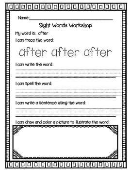 Sight Words for First Grade {Word Work}