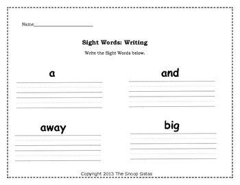 Sight Words: Dolch and then some (Pre-Primer)