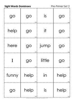 Sight Words Dominoes - Dolch Pre-primer