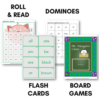 Dolch Sight Word Games (Primer) - Bingo, Dominoes, and Board Games