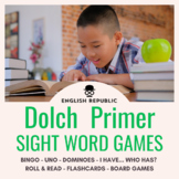 Dolch Sight Word Bingo, UNO, Dominoes, and Board Games (Primer)