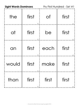 Sight Words Dominoes - Fry First Hundred