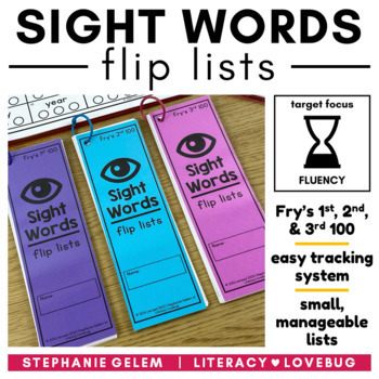 Sight Words Editable Flip Lists (THE BUNDLE)