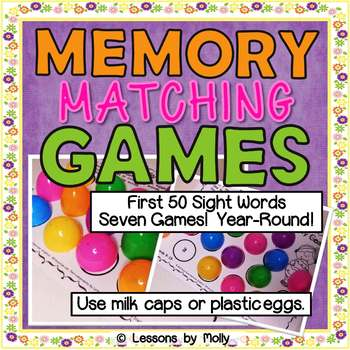 Memory Matching Games First 50 Sight Words