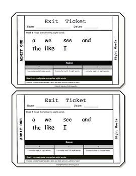 Sight Words Exit Tickets Kindergarten