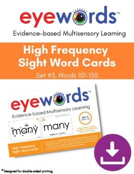 Sight Words Eyewords Multisensory Teaching/Wordwall Cards, Set #3, Words 101-150