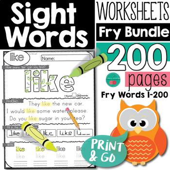 Sight Words Worksheet