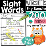 Sight Words Practice Pages for 1-200 Fry Sight Words Worksheets