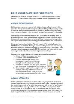 Sight Words Factsheet for Parents