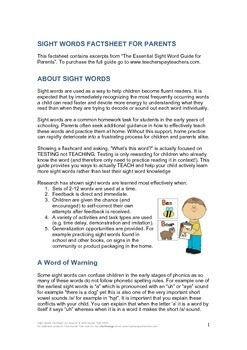 Sight Words Factsheet for Parents