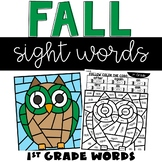 Sight Words Fall Coloring Sheets with 1st Grade Words