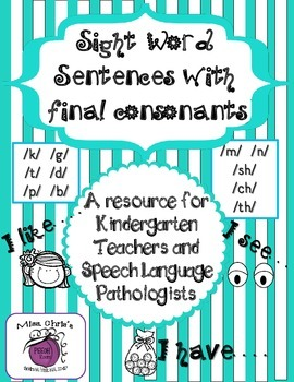 Sight Words & Final Consonants ~~ Articulation and Sight word Practice