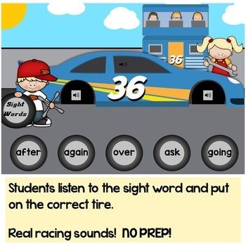 Sight Words First Grade Digital Boom Cards Racing Theme